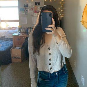 long sleeve beige button down trendy sweater 💛